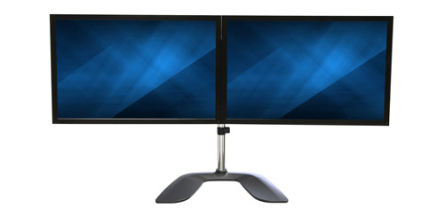 Free up space with this dual monitor stand