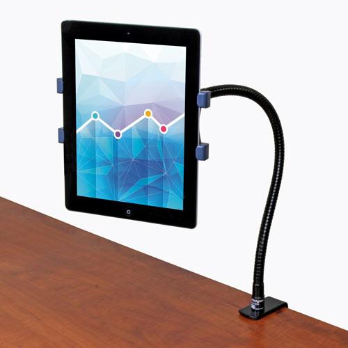 El soporte con brazo estilo cuello de ganso le permite utilizar su tablet en modo manos libres, en la posición y el ángulo de vista que prefiera