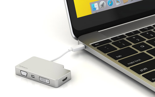 Photograph of the adapter connected to the 2015 MacBook