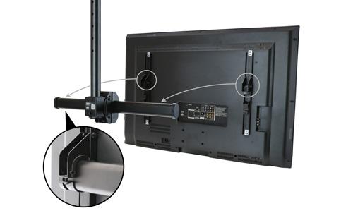 El diseño de enganche y montaje de este soporte de TV para techo facilita su instalación