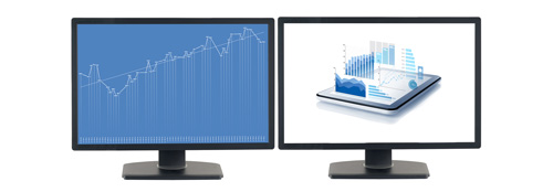productivity software displayed on two monitors