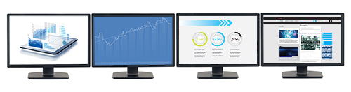productivity software displayed on four monitors