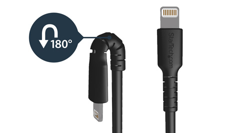 Lightning cable bending at a 180 degree angle