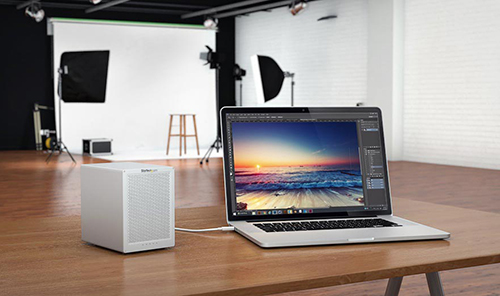 Sleek, ultra compact design of the Thunderbolt 2 hard drive enclosure