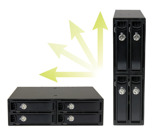 De 4-bay backplane kan verticaal of horizontaal in uw server of desktop worden geïnstalleerd