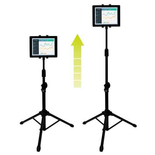 Simply raise or lower the tripod stand to adjust your tablet to your preferred height