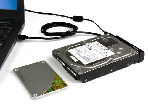 •	An external solid-state drive connected to a laptop through the USB 3.1 to SATA adapter