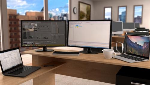 Replicador de puertos doble anfitrión en una oficina moderna, conectado y con control de un ordenador portátil Windows y Mac