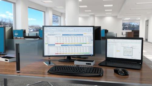Replicador de puertos 4K DisplayPort para ordenador portátil utilizado en un entorno de oficina con varias zonas de trabajo compartidas