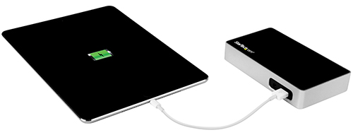 Tablet shown connected to the dock's easy-access fast charge port