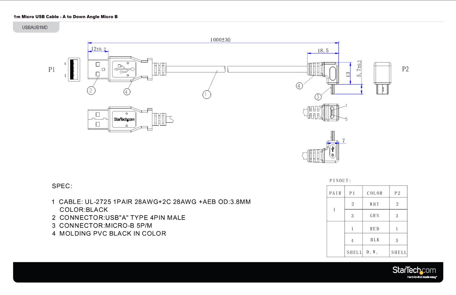 C U00e2ble Usb Vers Micro Usb En Angle Vers Le Bas 1 M