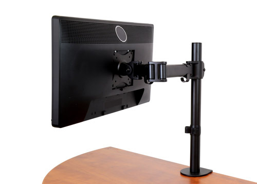 ARMPIVOTB with VESA mount compatible monitor in landscape position