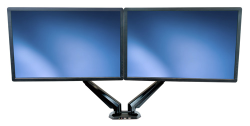 Free up valuable space by mounting two monitors over your desktop, side by side.