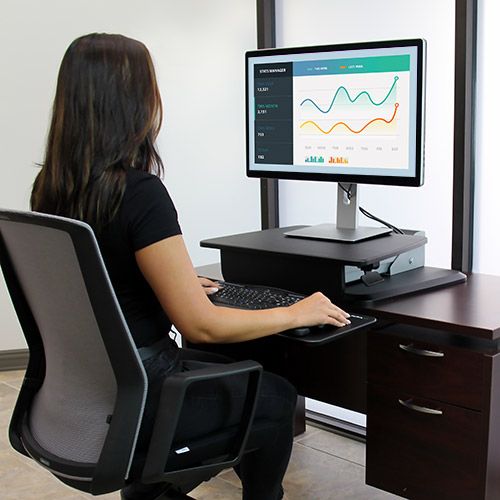 Simply put the sit-to-stand workstation on your desktop to create an affordable, ergonomic workspace
