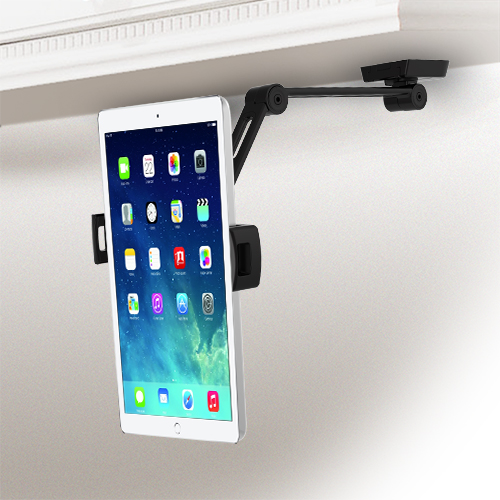 The tablet stand mounted under a cabinet