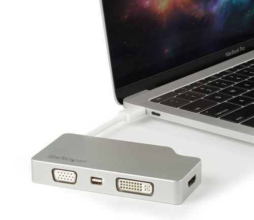 The multiport adapter connected to a MacBook