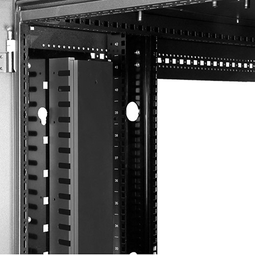 Photo showing the cable management panel installed in a rack using the tool-less mounting method