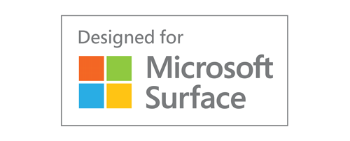 Logo de certification de compatibilité avec Microsoft Surface (« Designed for Microsoft Surface »)