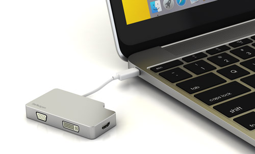 Photograph of the adapter connected to a MacBook Pro