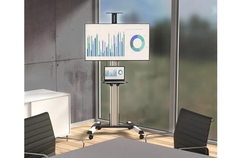 Este carrito portátil para TV facilita compartir equipos audiovisuales entre diferentes habitaciones.