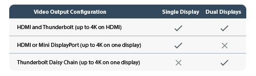 Video output configurations for single and dual display