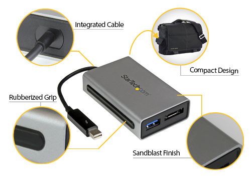 Thunderbolt to eSATA + USB 3.0 Rugged Portability