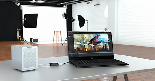 A Thunderbolt 3 laptop connected to a Thunderbolt 2 drive enclosure, using the TBT3TBTADAP adapter