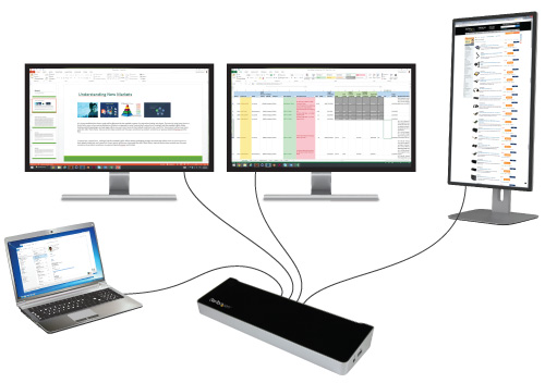 Triple-video docking station for laptops connected to a laptop and three monitors
