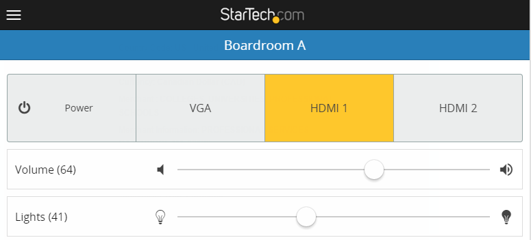 Example photo that shows an interface that was created for controlling lights and volume in a boardroom