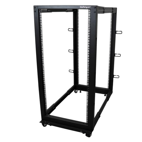 Large Image for 25U Adjustable Depth Open Frame 4 Post Server Rack w/ Casters / Levelers and Cable Management Hooks