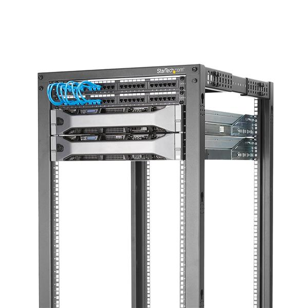 42U Adjustable Depth Open Frame 4 Post Server Rack Cabinet - Flat Pack w/  Casters, Levelers and Cable Management Hooks