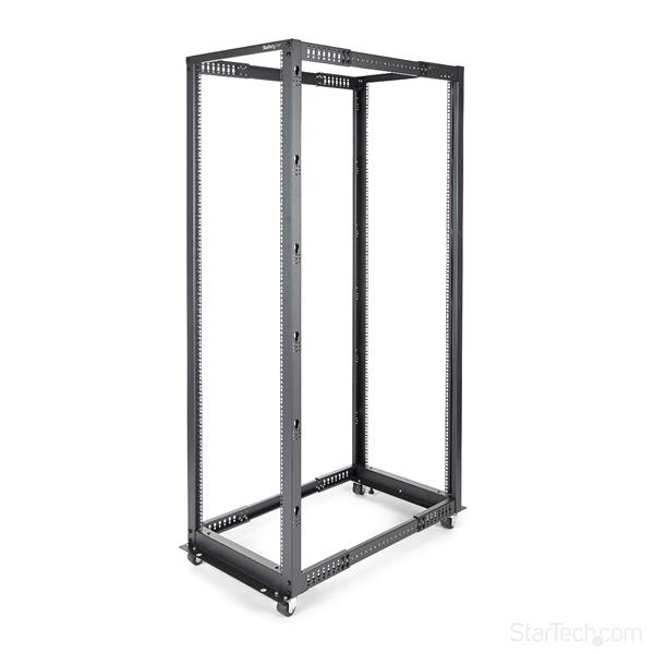Large Image for 42U Adjustable Depth Open Frame 4 Post Server Rack Cabinet - Flat Pack w/ Casters, Levelers and Cable Management Hooks