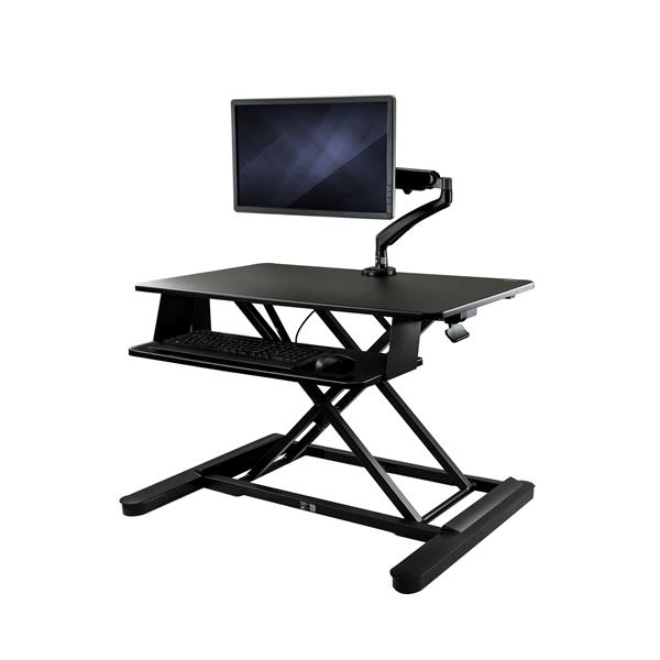 "Large Image for Sit-Stand Desk Converter with Monitor Arm - 35"" Wide Work Surface - For up to 26"