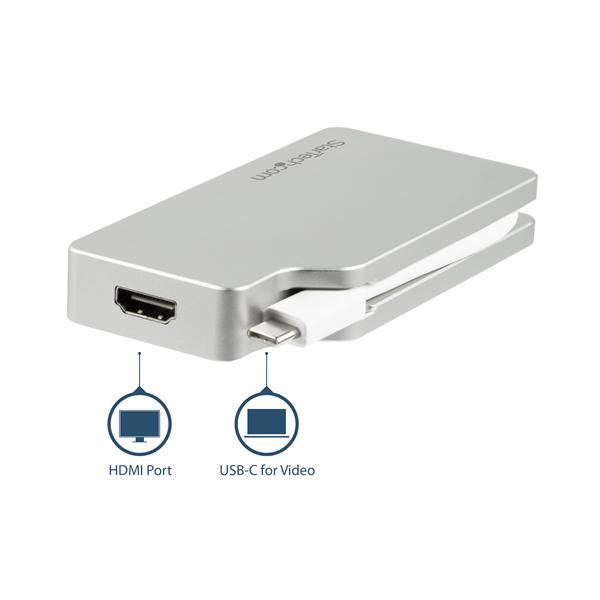 4-in-1 USB-C Multiport Video Adapter - Aluminum - 4K 30Hz - Silver