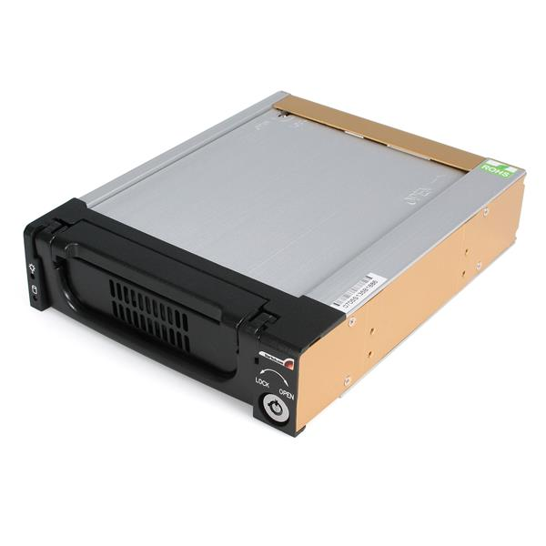 Large Image for Black Aluminum 5.25in Rugged SATA Hard Drive Mobile Rack Drawer