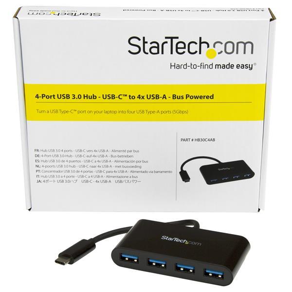 USB 3.0 Hub StarTech.com 4 Port USB C Hub USB-C to 4x USB-A Includes Power
