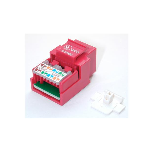 Tool-Less StarTech KEYSTONE2RD Cat5e Modular Keystone Jack Red
