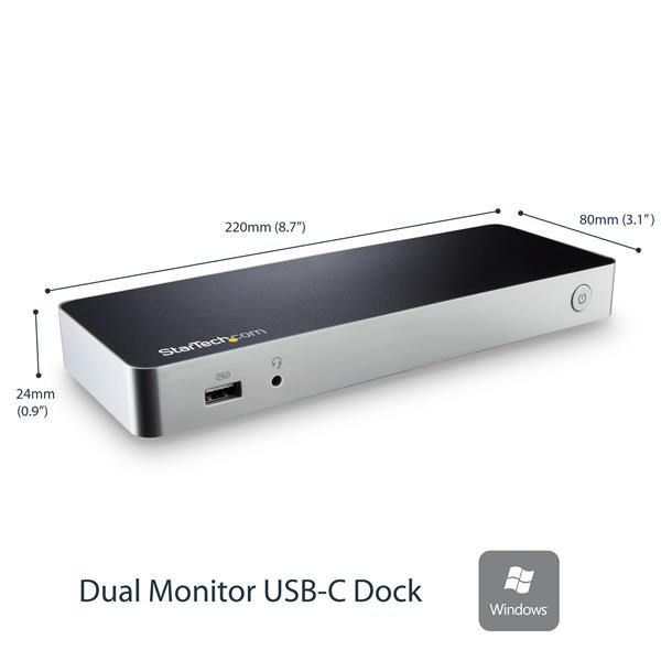 Dual-Monitor USB-C Dock for Windows® - 5x USB 3 0 Ports