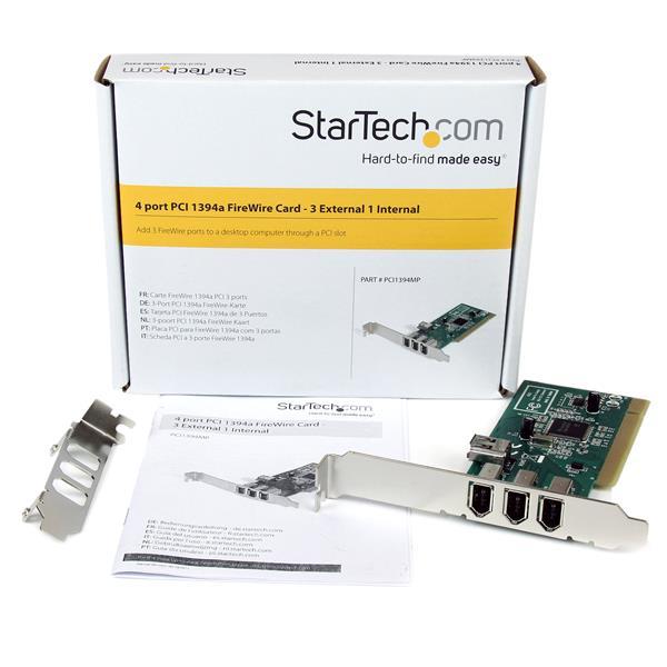 4 port PCI 1394a FireWire Adapter Card - 3 External 1 Internal
