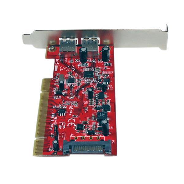 StarTech.com 2 Port PCI SuperSpeed USB 3.0 Adapter Card with SATA Power Dual Port PCI USB 3 Controller Card