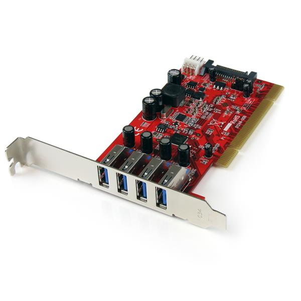 Large Image for 4 Port PCI SuperSpeed USB 3.0 Adapter Card with SATA / SP4 Power