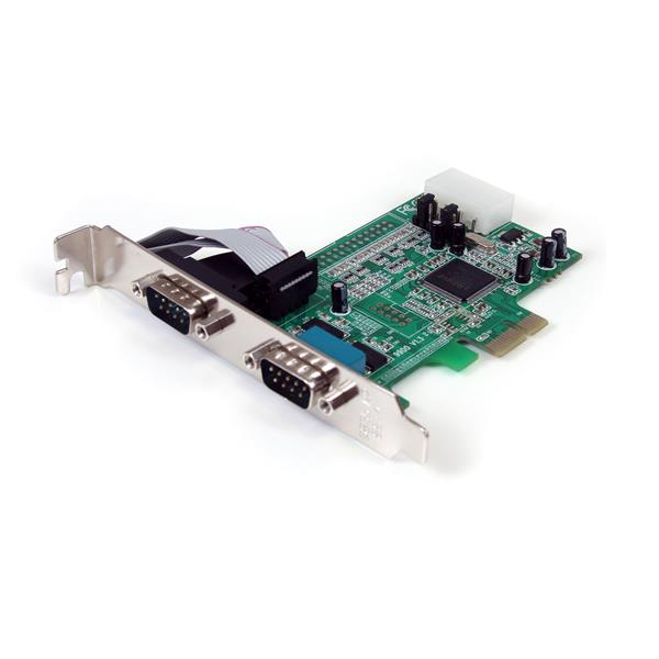 2 Port Native PCI Express RS232 Serial Adapter Card with 16550 UART