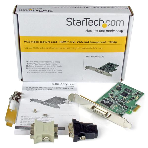 High-Definition PCIe Capture Card - HDMI VGA DVI & Component - 1080P