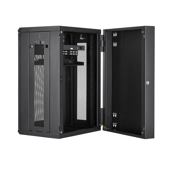 "18u wall-mount server rack cabinet - 20"" deep, hinged | startech"