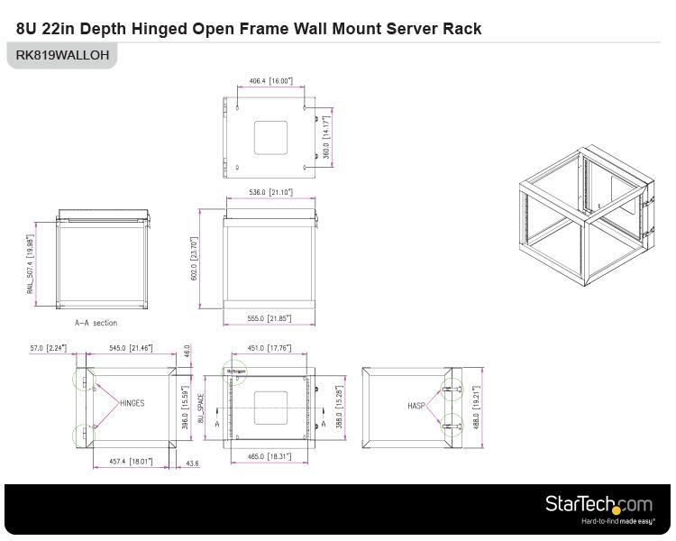 8u 22 Quot Quot Open Frame Wall Mount Server Rack Wallmount