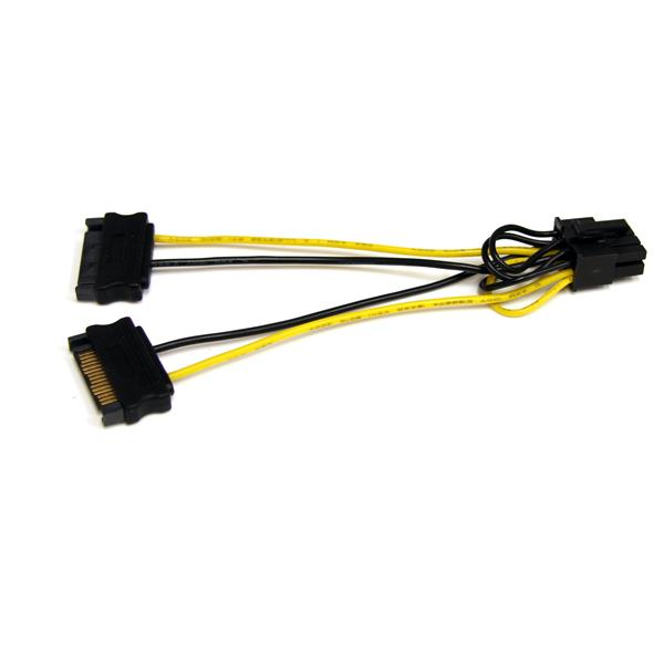 Male Video Card Power Cable 5x 15CM 15Pin SATA Male To PCI-E Express 8Pin 6+2
