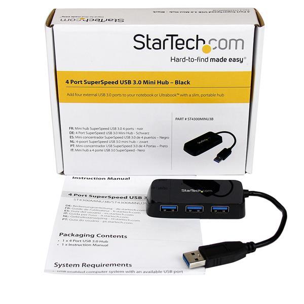 Portable 4 Port SuperSpeed Mini USB 3 0 Hub - Black