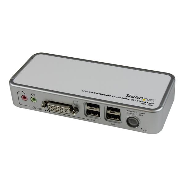 Thumbnail 1 For 2 Port USB DVI KVM Switch Kit With Cables 20 Hub