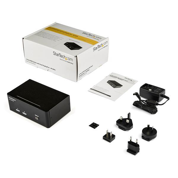 2-Port DisplayPort Dual-Monitor KVM Switch - 4K 60Hz