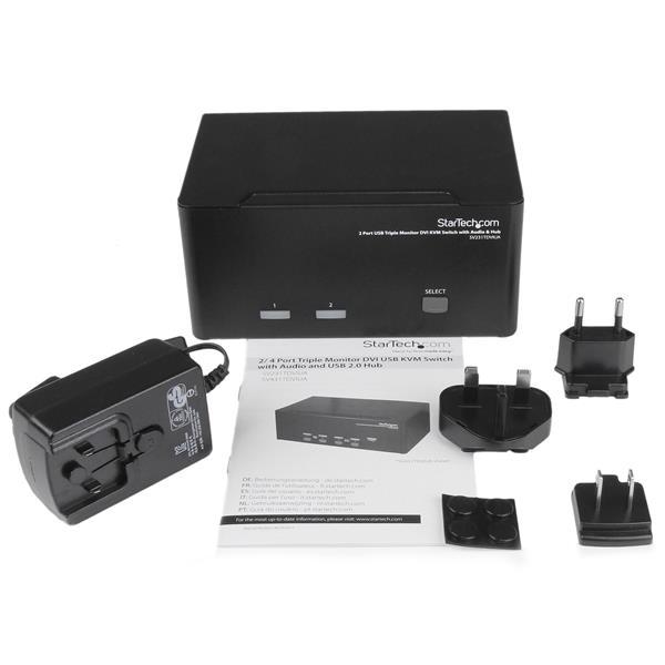 2 Port Triple Monitor DVI USB KVM Switch with Audio & USB 2 0 Hub